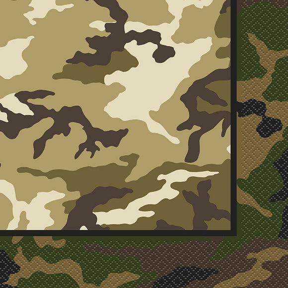 Pack of 16 Military Camouflage Luncheon Napkins - Army Camo Party Tableware