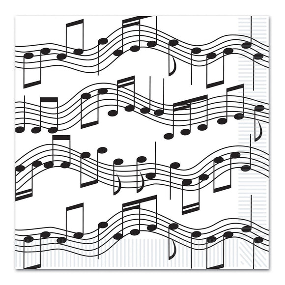 Pack of 16 Musical Notes Luncheon Paper Napkins - 33 cm - Party Tableware