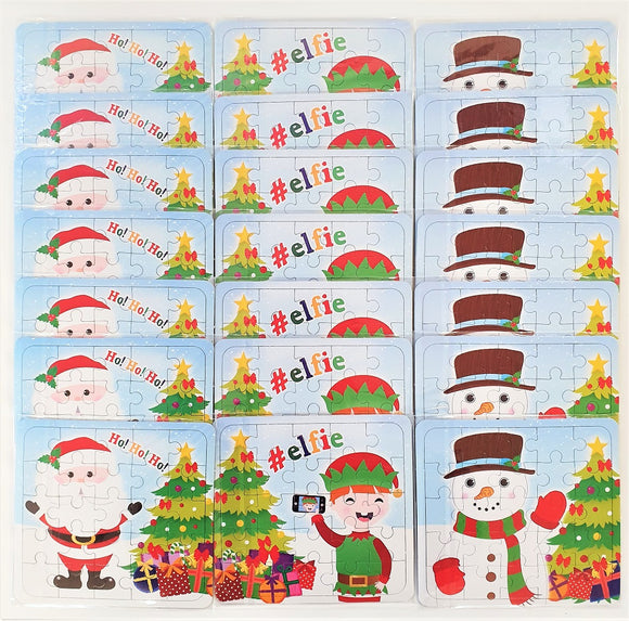Pack of 21 Christmas Mini Puzzle Games - Xmas Stocking Fillers - Party Favours