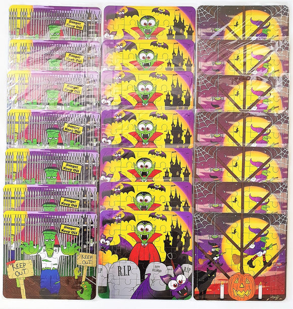 Pack of 21 Mini Halloween Puzzle Games - Party Bag Fillers - Spooky Favours