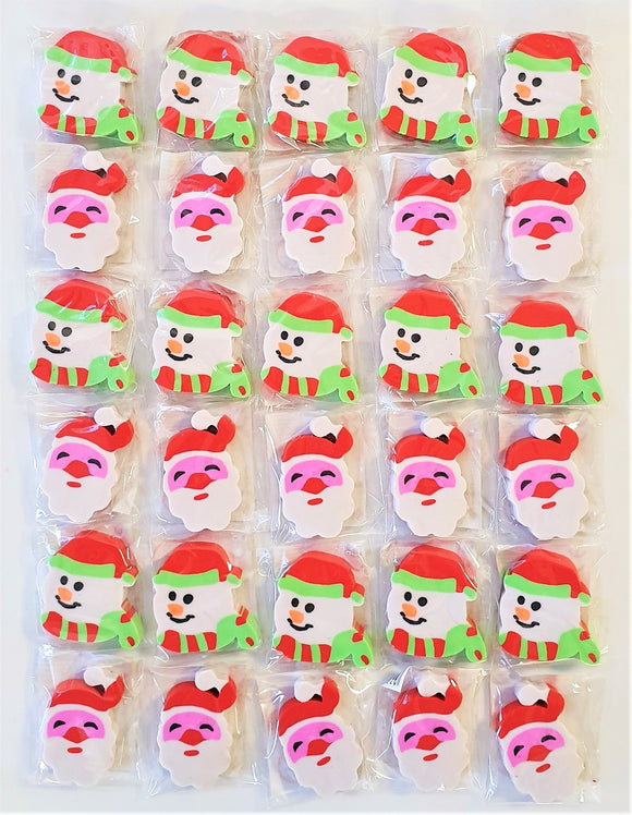 Pack of 30 Christmas Erasers - Stocking & Party Bag Fillers - Xmas Party Favours