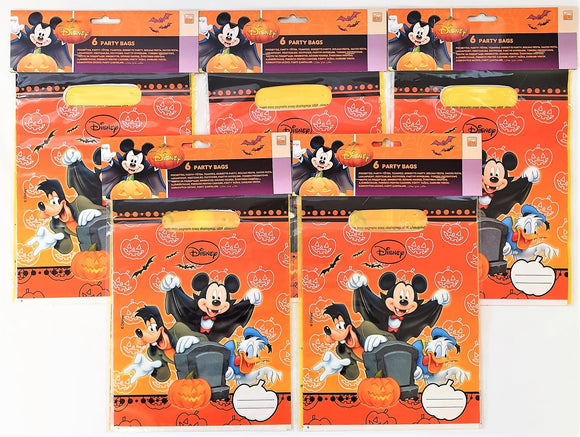 Pack of 30 Disney Mickey Mouse Plastic Party Bags - Halloween Loot Bag