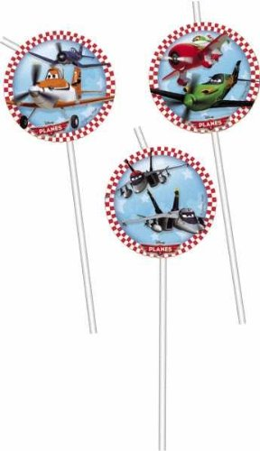 Pack of 6 Disney Planes Drinking Straws with card cutouts - Party Tableware