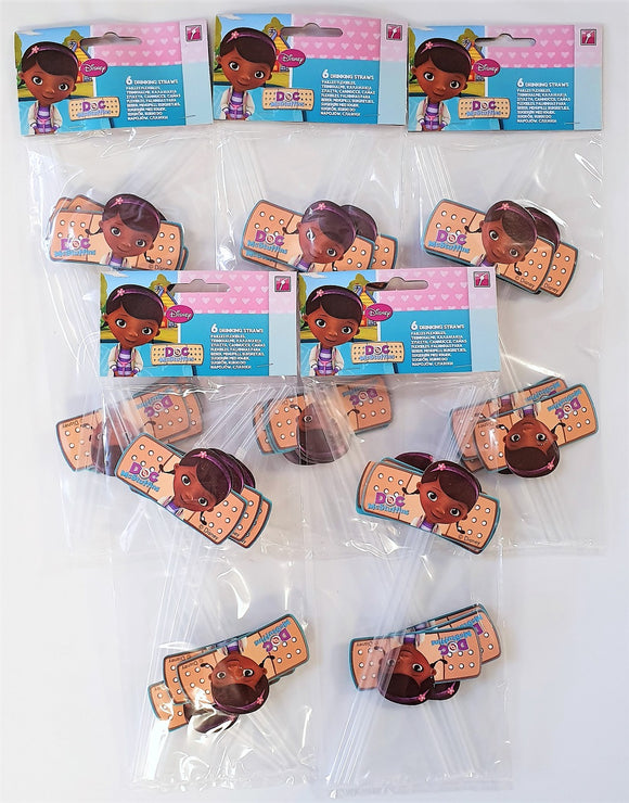 Pack of 30 Disney Doc McStuffins Plastic Drinking Straws - Party Tableware