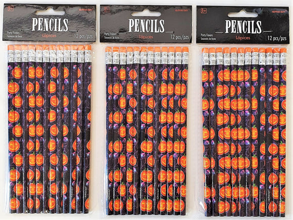 Pack of 36 Playful Pumpkins Pencils - Halloween Favours - Party Bag Fillers