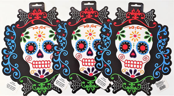 Pack of 3 Day of the Dead Cutouts - 26 cm x 23 cm - Halloween Party Decorations