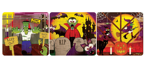Pack of 3 Mini Halloween Puzzle Games - Party Bag Fillers - Spooky Favours