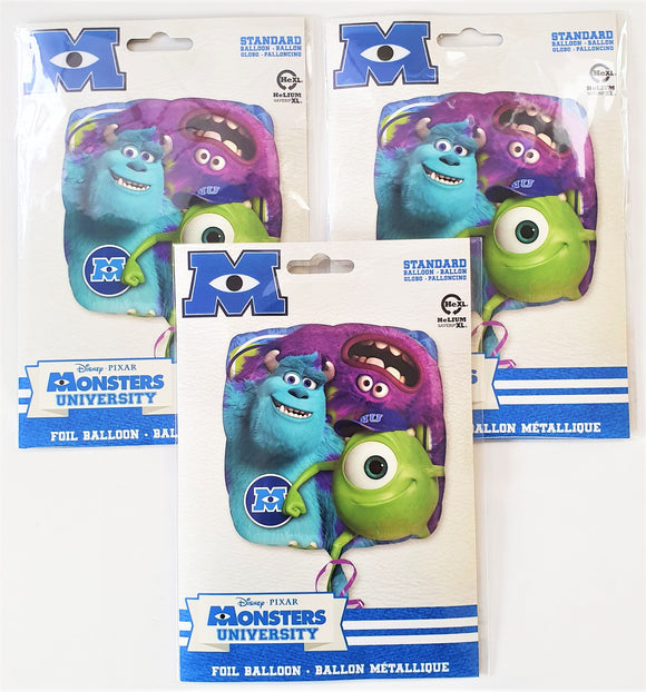 Pack of 3 Monsters University Cube Foil Helium Balloons Disney Party Decorations