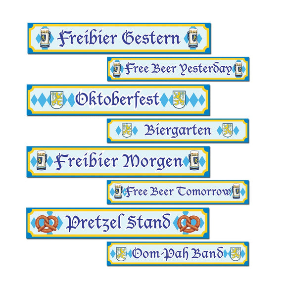 Pack of 4 Double Sided Oktoberfest Street Signs German Beer Festival Party Decor