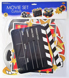 Pack of 4 Movie Set Cutouts - Hollywood Movie Party Wall Decorations