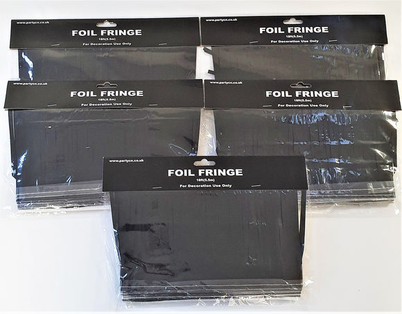 Pack of 5 Black 18ft Foil Fringe Garlands - Halloween Hanging Party Decorations