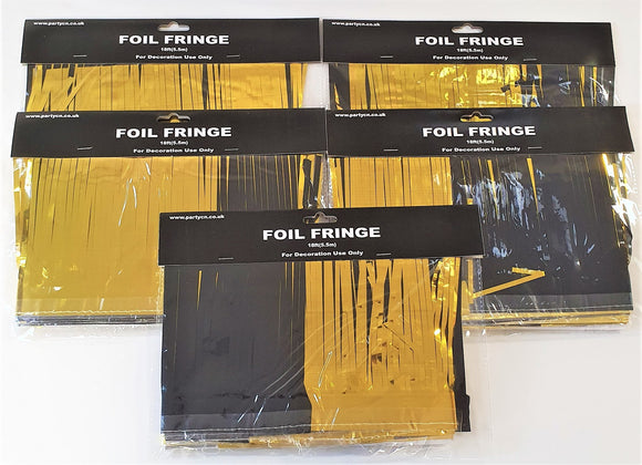 Pack of 5 Black and Gold 18ft Foil Fringe Garlands - Halloween Party Decorations
