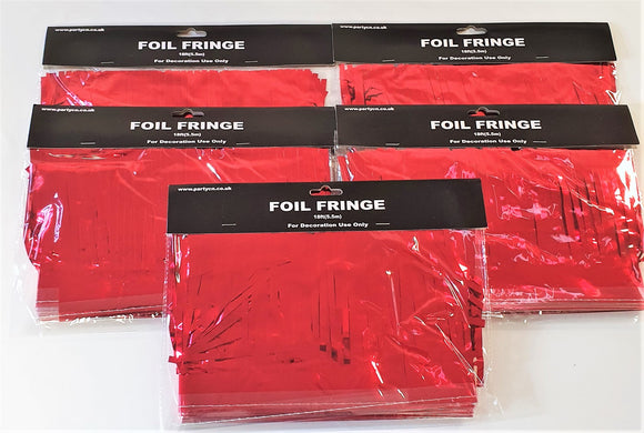 Pack of 5 Red 18ft Foil Fringe Garlands - Christmas Hanging Party Decorations