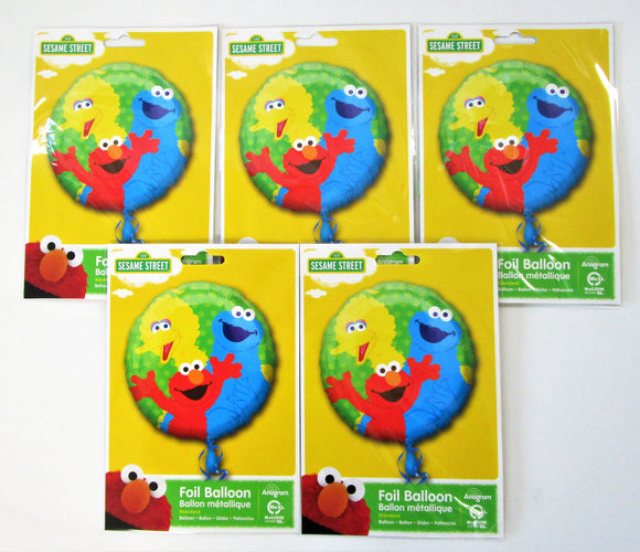 Pack of 5 Sesame Street Gang Foil Balloons - Kids Helium Party Balloon