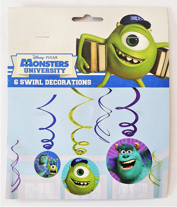 Pack of 6 Monsters University Swirl Hanging Party Decorations - Disney Pixar