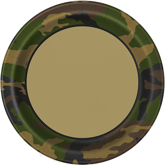Pack of 8 Military Camouflage 22cm Paper Plates - Army Camo Party Tableware