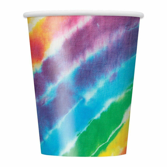 Pack of 8 Tie Dyed 270 ml Paper Cups - 1960's Party Tableware