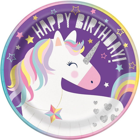Pack of 8 Unicorn 22 cm Paper Plates - Happy Birthday Fantasy Party Tableware