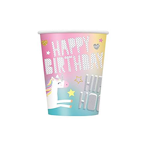 Pack of 8 Unicorn 270ml Paper Cups - Happy Birthday Fantasy Party Tableware