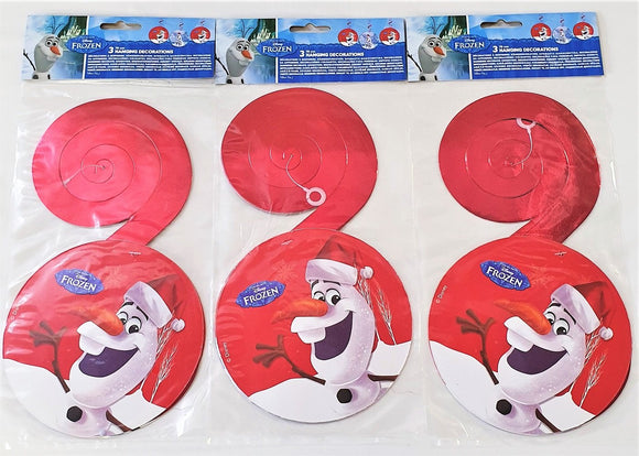 Pack of 9 Disney Frozen Olaf Hanging Swirl Decorations - Christmas Party Decor