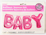 Pink Baby Balloon Letter Banner Kit - Air Fill only - Baby Shower Party Balloons