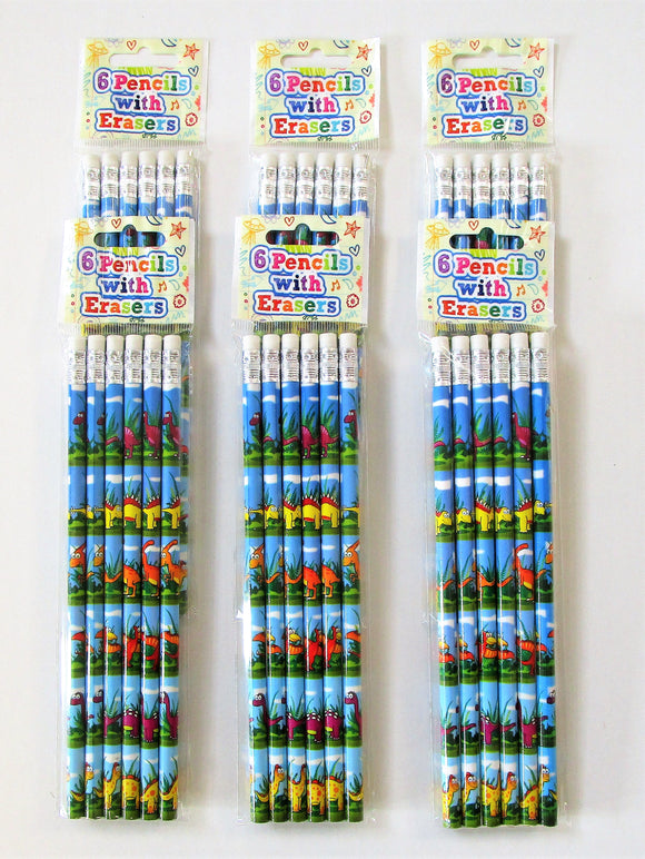 Pack of 36 Dinosaur Pencils with Erasers - Kids Stationary - Party Bag Fillers