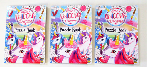 Pack of 3 Fun Unicorn Puzzle Books - Kids Favours - Party Bag Fillers