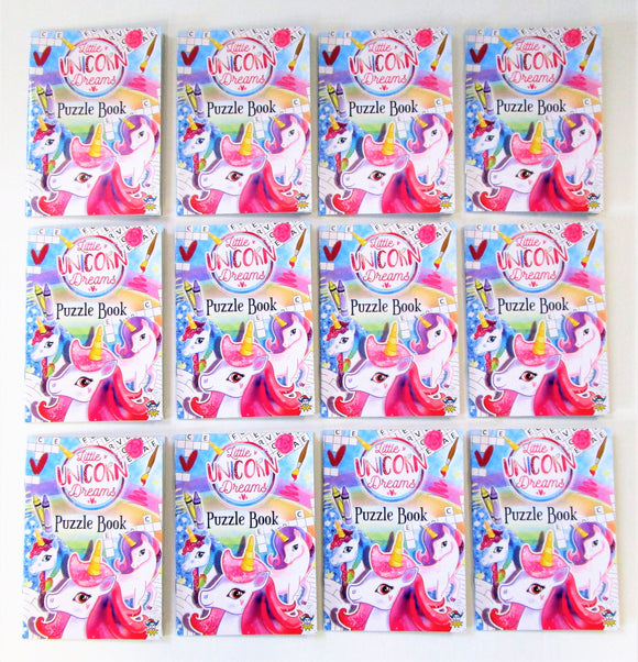 Pack of 12 Fun Unicorn Puzzle Books - Kids Favours - Party Bag Fillers
