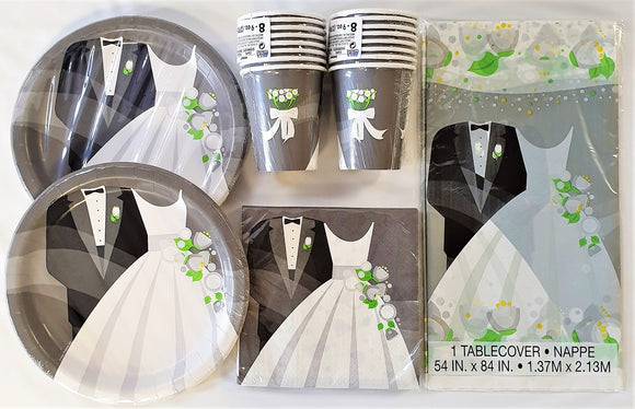 Wedding Party Tableware Pack for 16 People - Silver Plates Cups Napkins etc