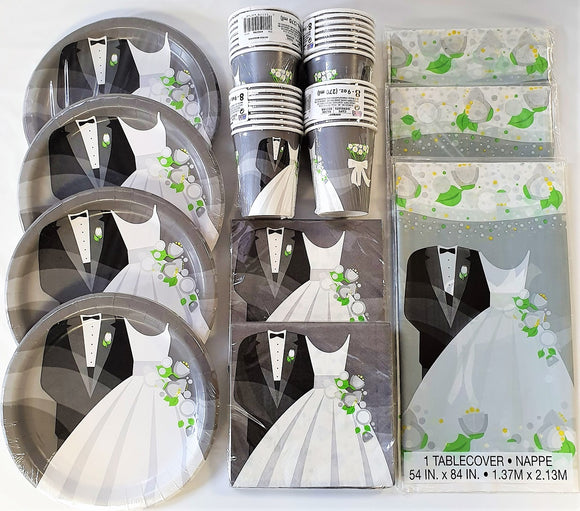 Wedding Party Tableware Pack for 32 People - Silver Plates Cups Napkins etc