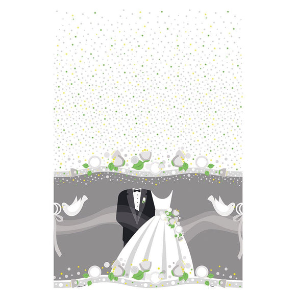 Wedding Plastic Table Cover - 137 cm x 213 cm - Silver Party Tableware
