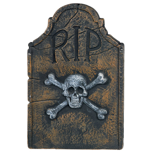 RIP Cemetery Skull and Crossbones Tombstone - 55cm - Halloween Party Decorations