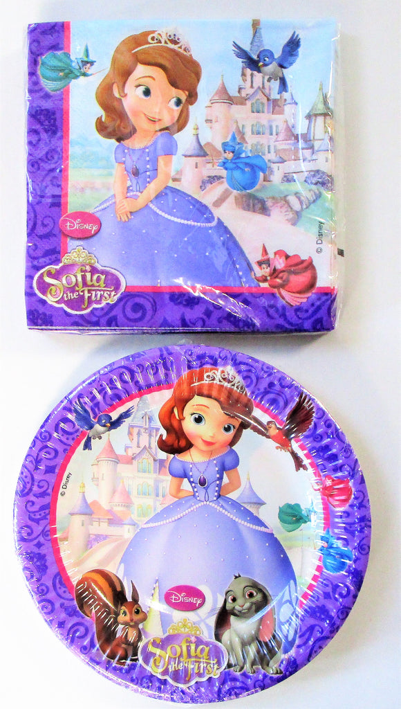 Sofia The First Party Tableware Pack for 8 People - Disney Plates and Napkins