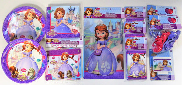 Sofia The First Party Pack for 16 People - Disney Party Tableware and Decoration