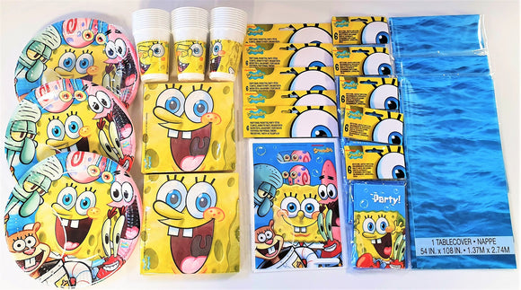 Spongebob Party Pack for 30 Children With Ocean Wave Table Cover - Tableware Set