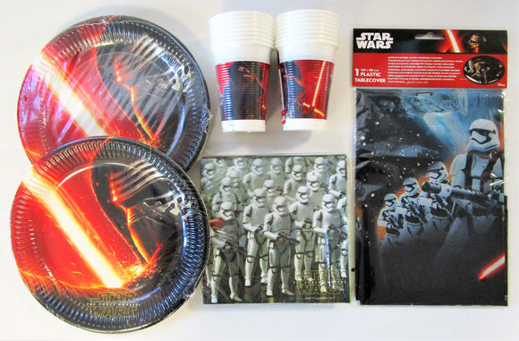 Star Wars The Force Awakens Party Tableware Pack for 16 People - Plates Cups etc