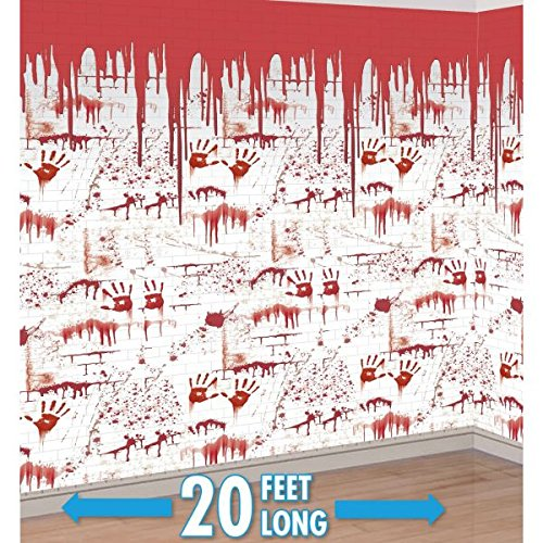 Pack of 2 The Chop Shop Bloody Wall Scene Setter - Halloween Party Decorations
