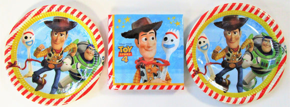 Disney Pixar Toy Story 4 Party Tableware Pack for 16 People - Plates and Napkins