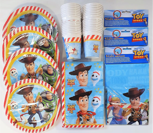 Disney Pixar Toy Story 4 Party Tableware Pack for 32 People - Plates Cups etc