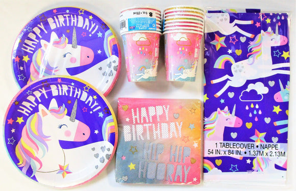 Unicorn Happy Birthday Party Tableware Pack for 16 People - Plates Cups etc