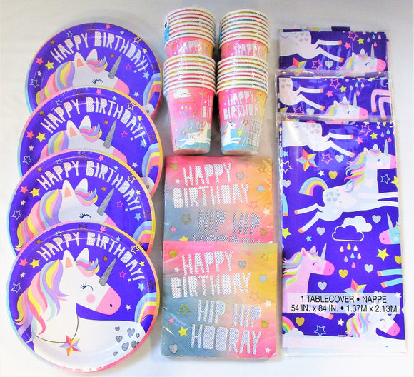 Unicorn Happy Birthday Party Tableware Pack for 32 People - Plates Cups etc