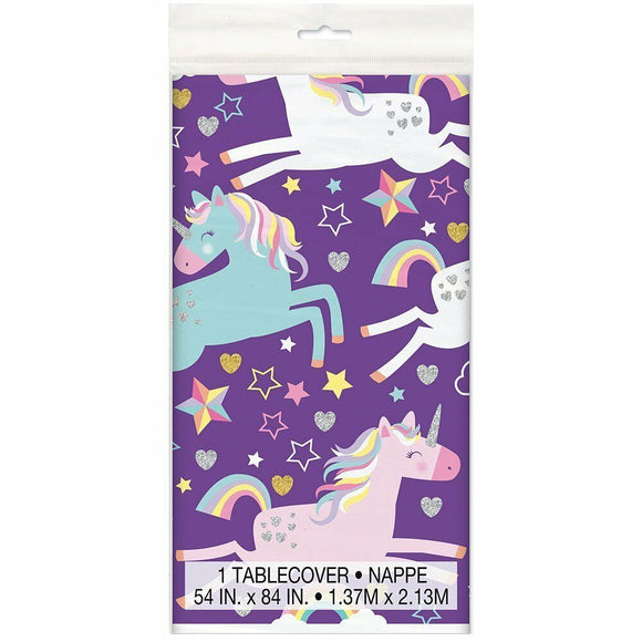 Unicorn Plastic Table Cover - 137 cm x 213 cm - Fantasy Birthday Party Tableware