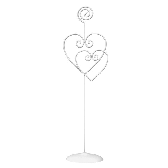 White Heart Shaped 23 cm Metal Table Card Holder - Wedding Party Decorations