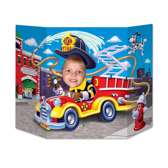 Fire Engine & Fire Fighter Photo Prop - 94 x 64 cm - Fire Truck Party Decoration