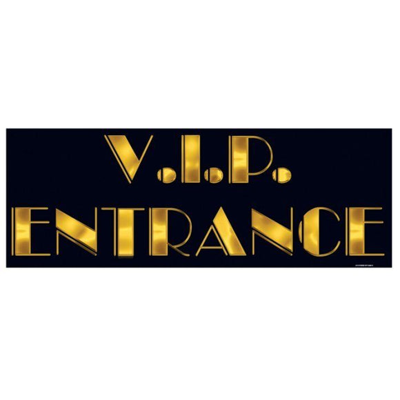 V.I.P Entrance Sign - 56 x 20 cm - Hollywood Party - VIP Decoration Double Sided