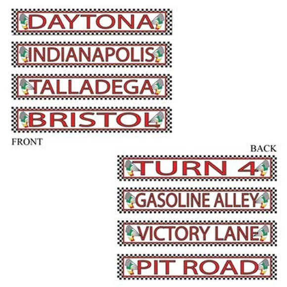 Pack of 4 Double Sided Racing Street Signs - Daytona Talladega Party Decorations