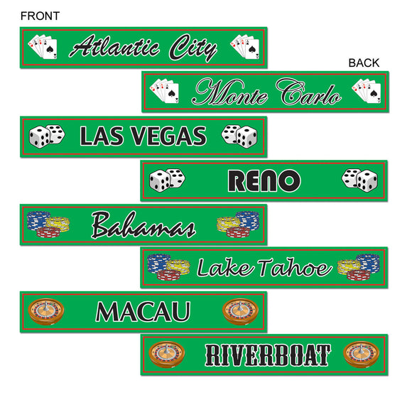 Pack of 8 Vegas Style Street Signs Printed Cutouts - Casino Party Decorations