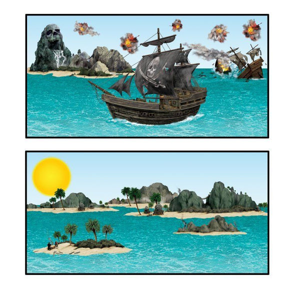 14 Piece Pirate Ship and Island Props - Wall Scene Setter Party Decorations