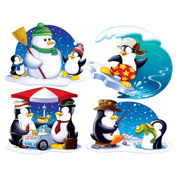 Pack of 4 Penguin & Friends Cutouts - 41cm - Christmas & Winter Party Decoration