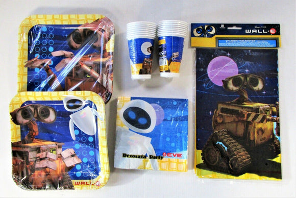 Wall-E Party Pack for 16 People - Disney Robot Party Tableware - Plates Cups etc